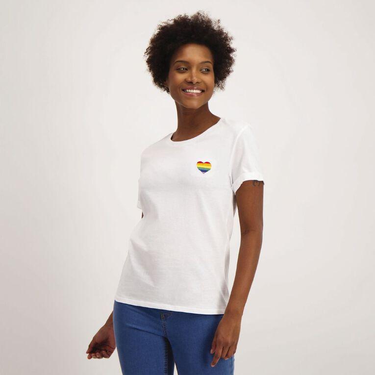 H&H Women's Printed Cuff Detail Tee, White, hi-res