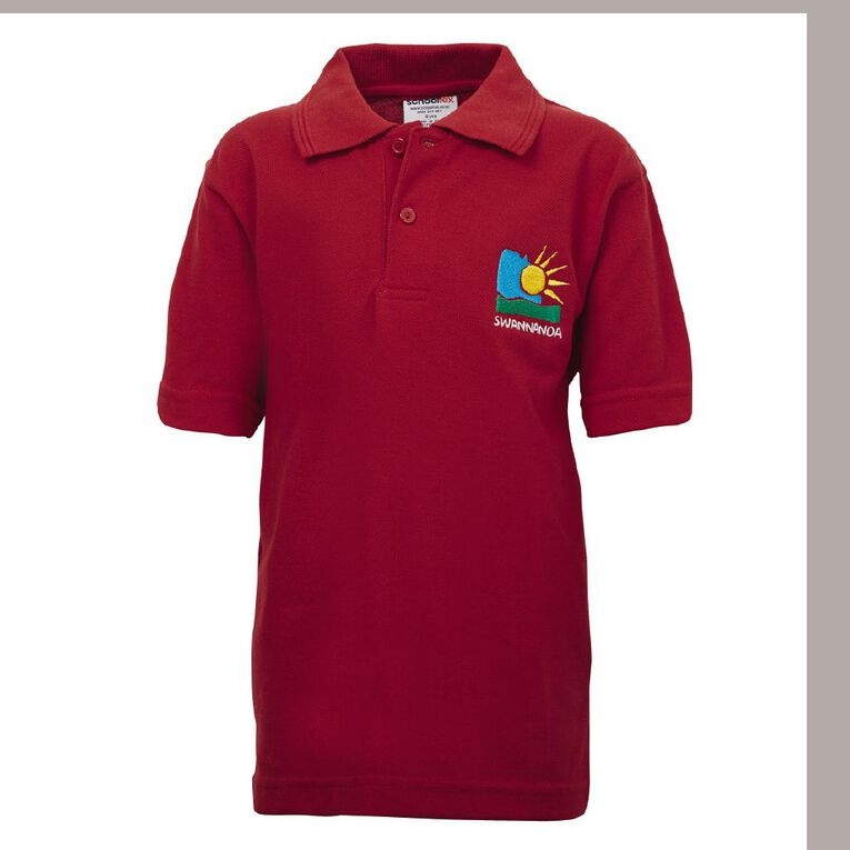 Schooltex Swannanoa Short Sleeve Polo with Embroidery, Red, hi-res
