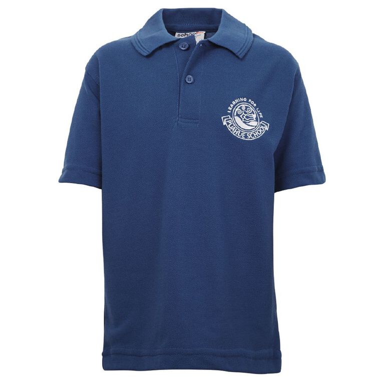 Schooltex Puahue School Short Sleeve Polo with Embroidery, Royal, hi-res