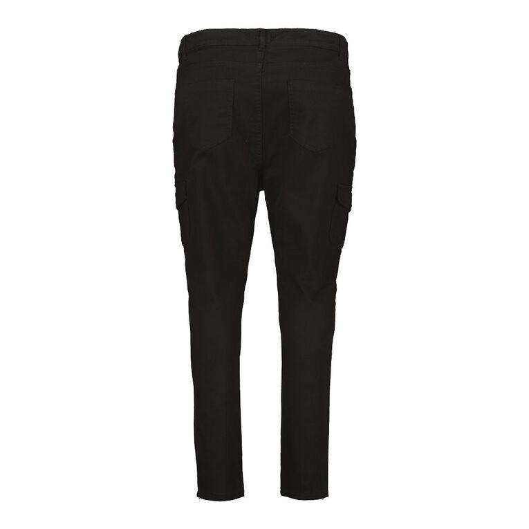 H&H Plus Women's Zip Skinny Cargo Pants, Black, hi-res