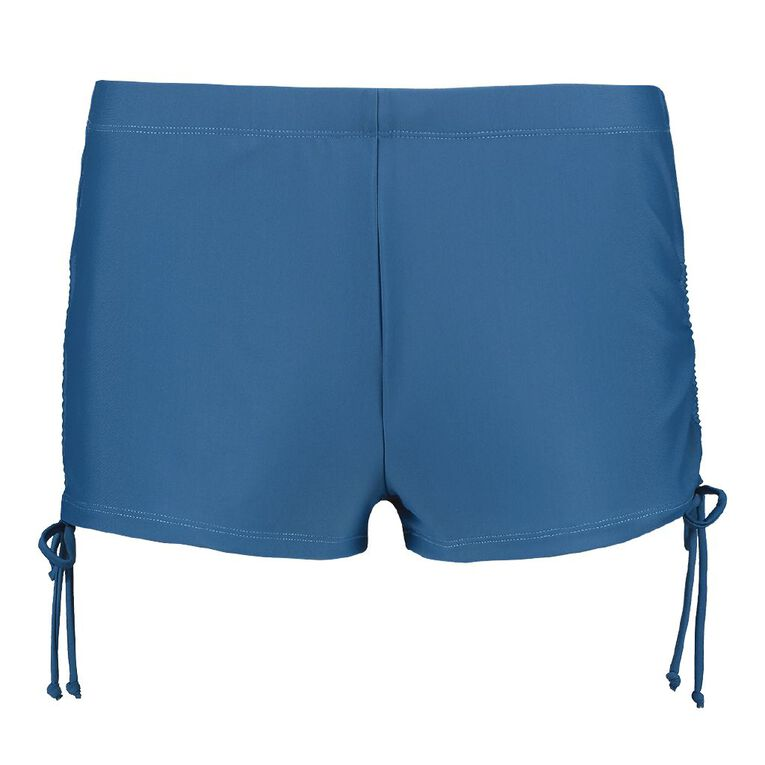 H&H Swim Women's Boyleg Bottom With Side Rouching, Blue Mid, hi-res