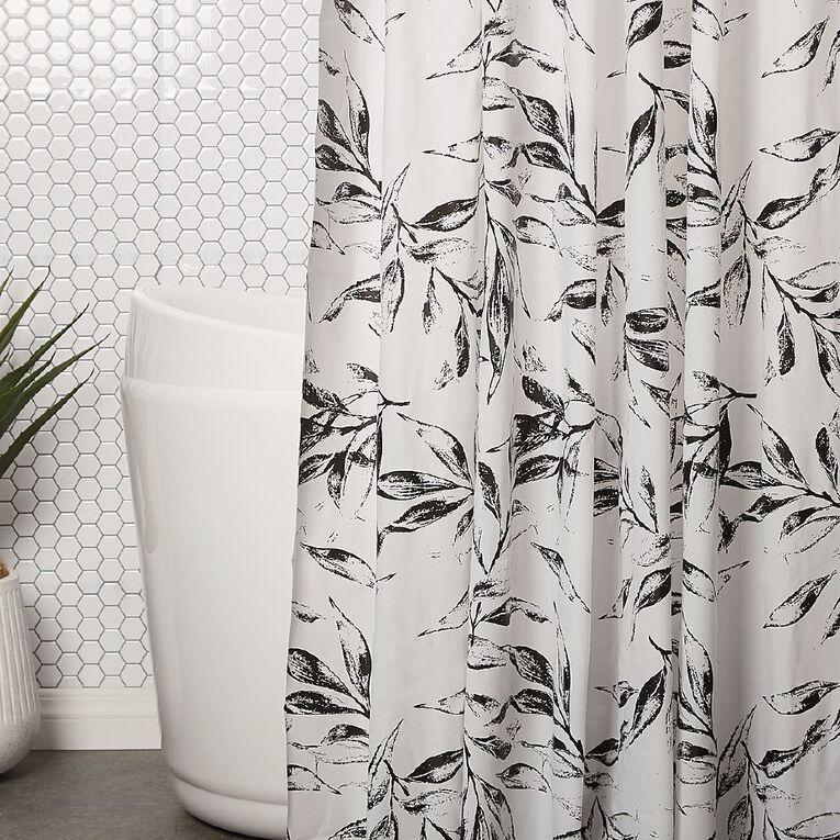 Living & Co Shower Curtain PEVA Leaves White/Black 180cm x 180cm, White/Black, hi-res