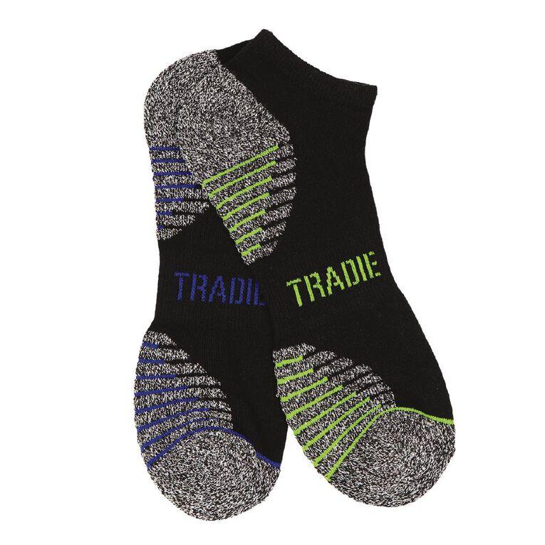 Tradie Men's Low Cut Performance Sport Socks 2 Pack, Black, hi-res