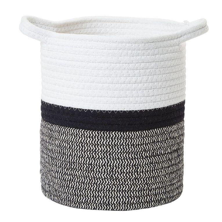 Living & Co Jute Rope Basket Black/White Small, , hi-res