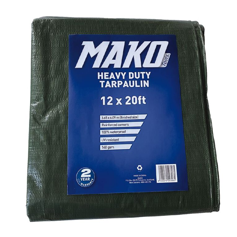 Mako Tarpaulin Green 140gsm 12ft x 20ft Green, , hi-res