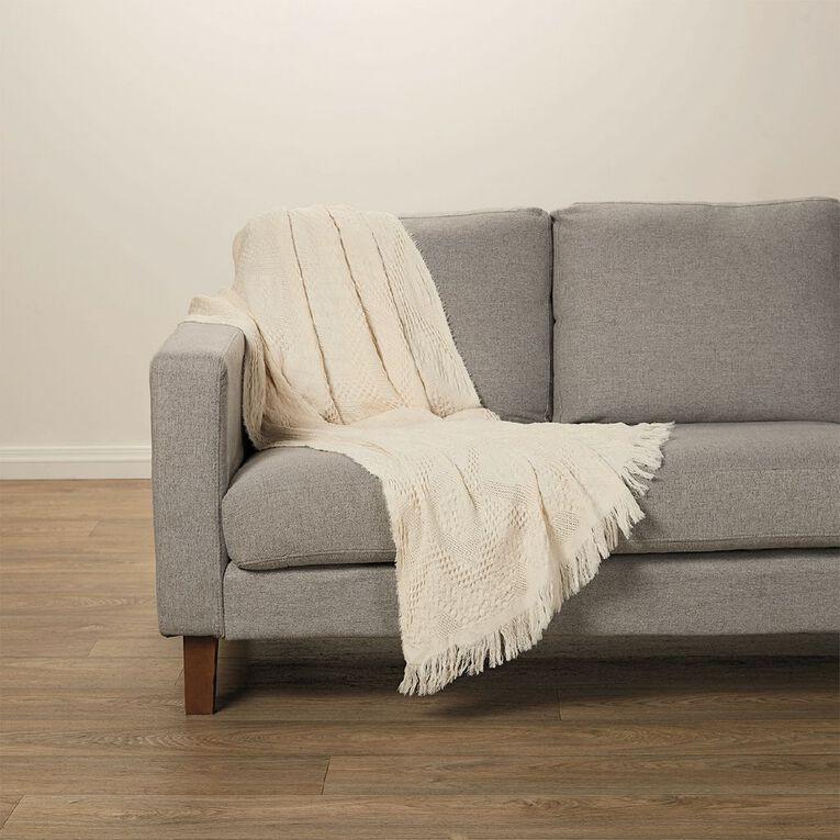 Living & Co Stonewash Cotton Throw Natural 120cm x 158cm, Natural, hi-res image number null