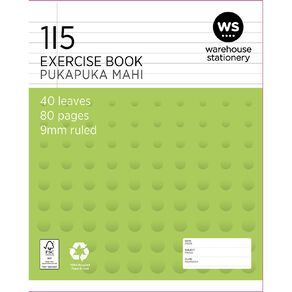WS Exercise Book 1I5 9mm Ruled 40 Leaf Green
