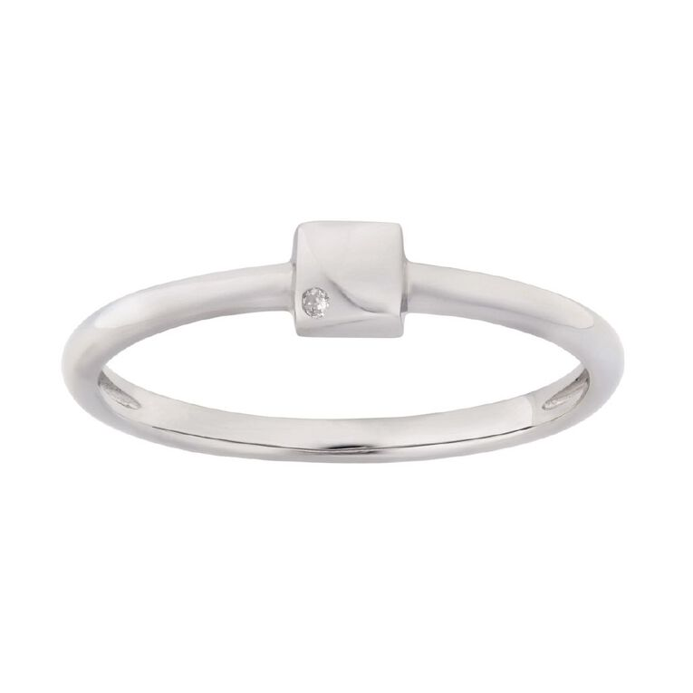 Sterling Silver Diamond Square Ring, Sterling Silver, hi-res