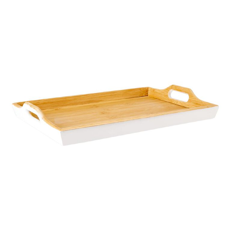 Living & Co Maya Bamboo Tray with Handles White 40cm x 28cm, , hi-res