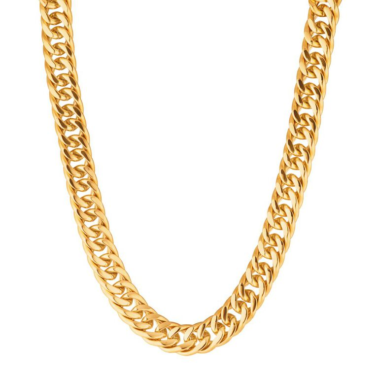 Stainless Steel Gold Plated Chunky Necklace, Yellow Gold, hi-res