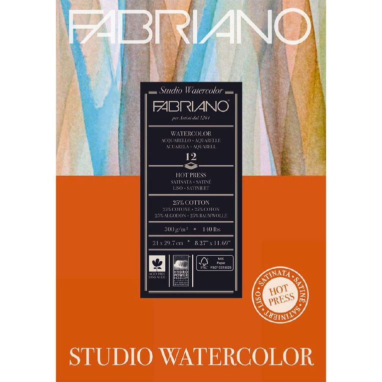 Fabriano Studio Watercolour Pad Hot Pressed 300GSM 12 Sheets A4, , hi-res image number null