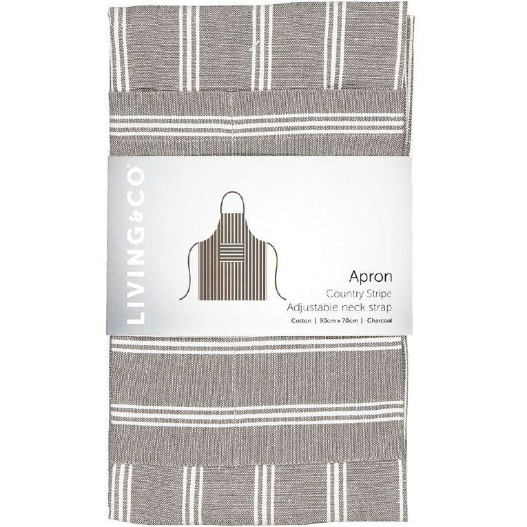 Living & Co Country Stripe Apron Charcoal 70cm x 90cm, , hi-res