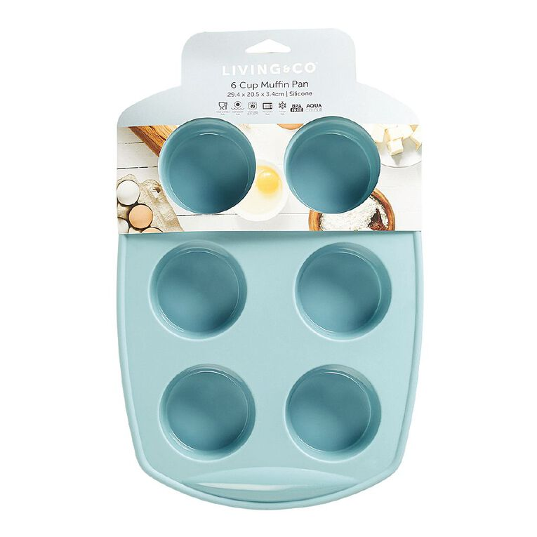 Living & Co Silicone Muffin Pan Aqua 6 Cup, , hi-res