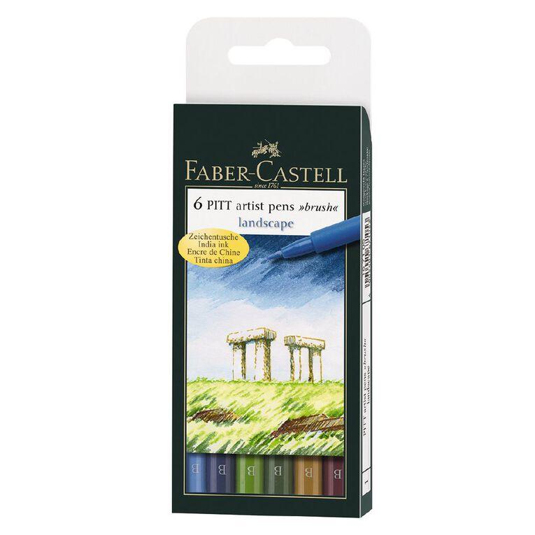 Faber-Castell Pitt Artist Brush Pens Landscape 6 Pack, , hi-res