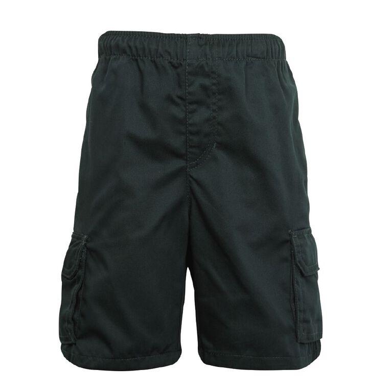 Schooltex Drill Cargo Pocket Shorts, Bottle Green, hi-res