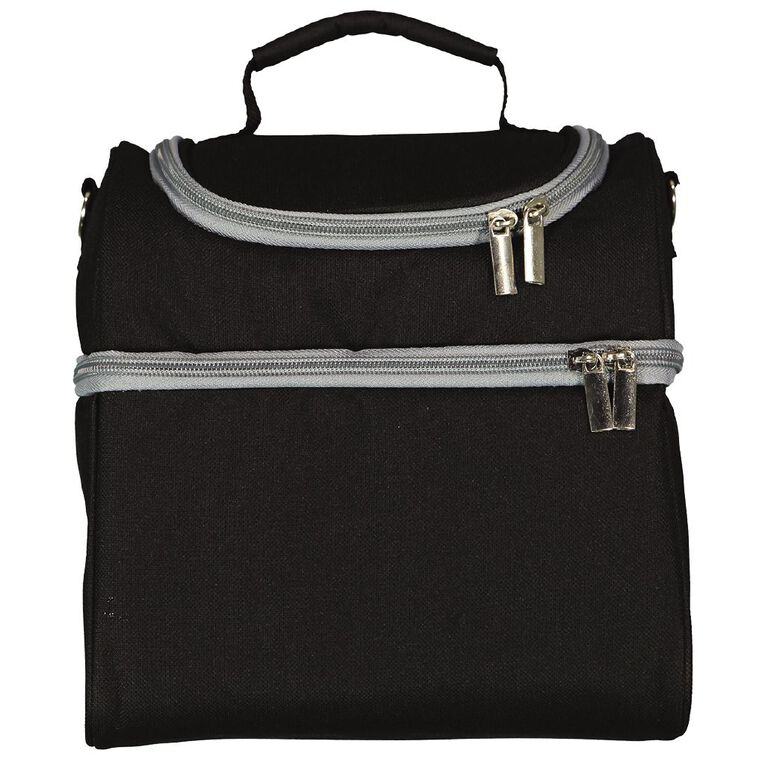 Living & Co Dual Compartment Adults Lunch Bag Black One Size, , hi-res