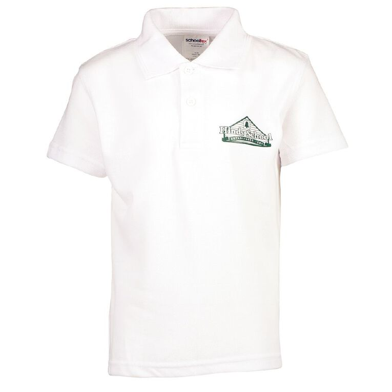Schooltex Hinds Short Sleeve Polo with Screenprint, White, hi-res