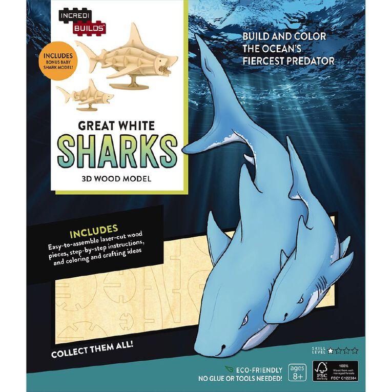 Incredibuilds Great White Sharks 3D Wooden Model, , hi-res