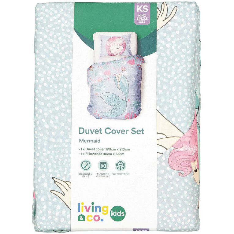 Living & Co Kids Duvet Cover Set Mermaid Blue Single, Blue, hi-res