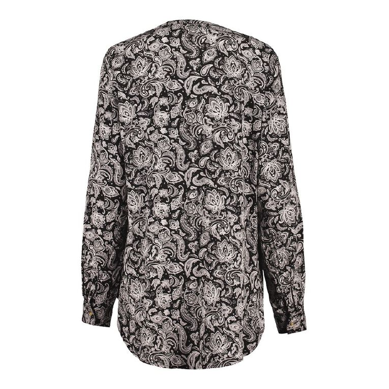 H&H Women's 1/4 Placket Shirt, Black, hi-res