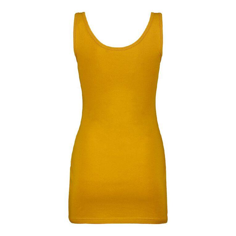 H&H Long Wide Strap Singlet, Yellow Dark, hi-res