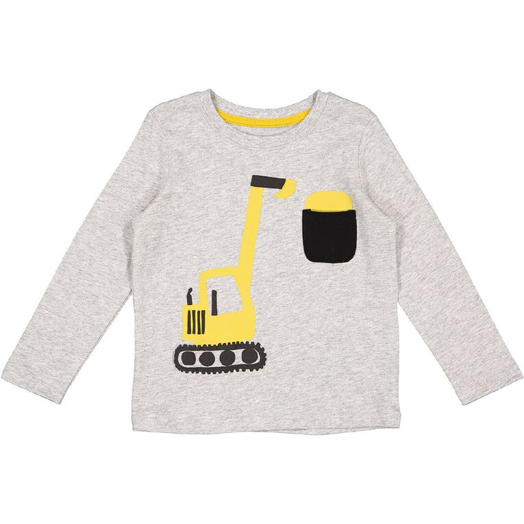 Young Original Toddler Long Sleeve Applique Tee, Grey Mid, hi-res