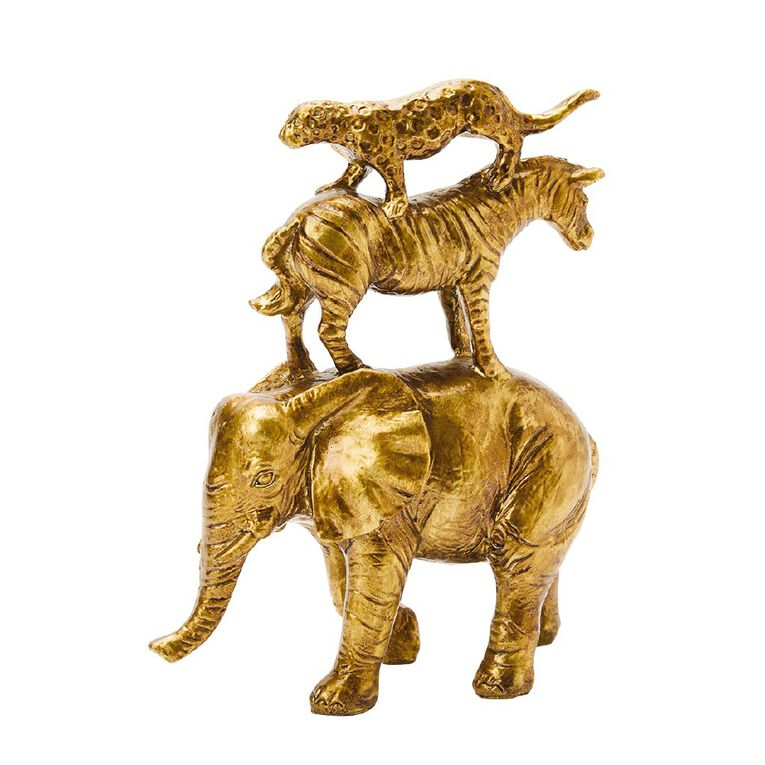 Living & Co Jungle Animal Tower Ornament Gold, , hi-res