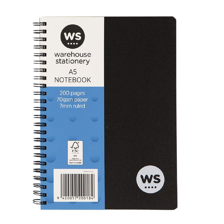 WS Notebook PP Wiro 200 Pages soft cover Black A5, , hi-res