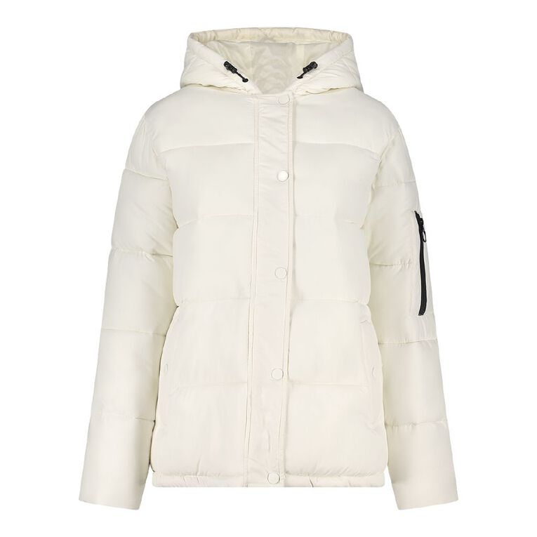 H&H Women's Hooded Puffer Jacket, White, hi-res