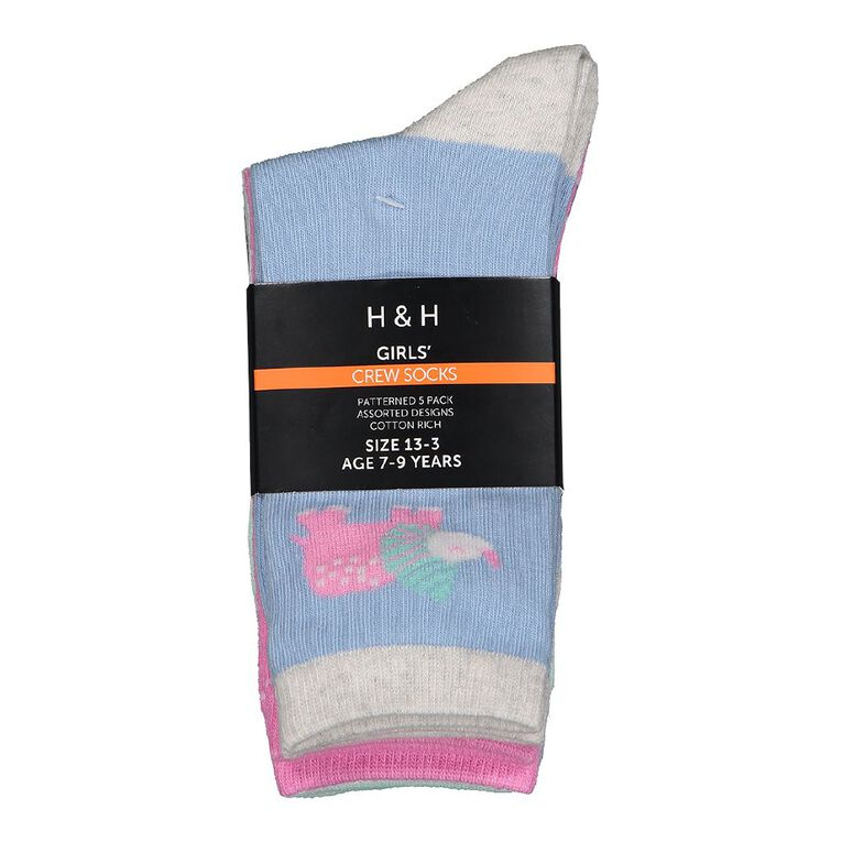 H&H Girls' Jacquard Crew Socks 5 Pack, Blue Light, hi-res