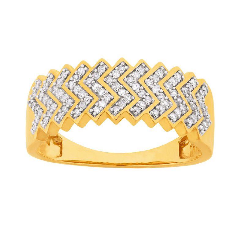 0.25 Carat Diamond 9ct Gold Zigzag Ring, Yellow Gold, hi-res
