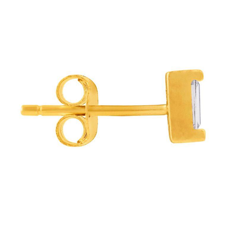 9ct Gold CZ Baguette  Stud Earrings, , hi-res