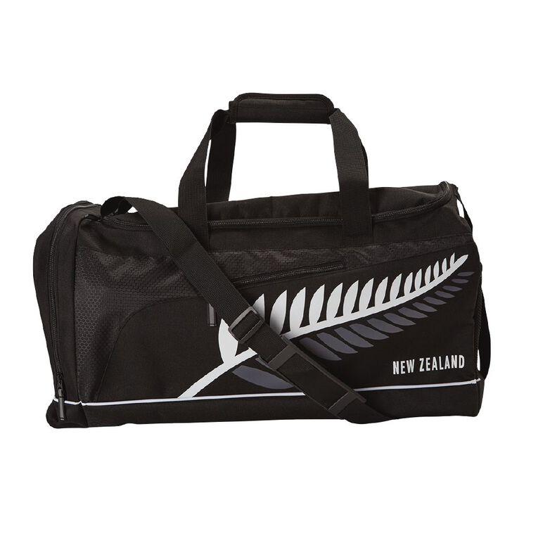 Active Intent NZ Fern Sports Bag, Black, hi-res