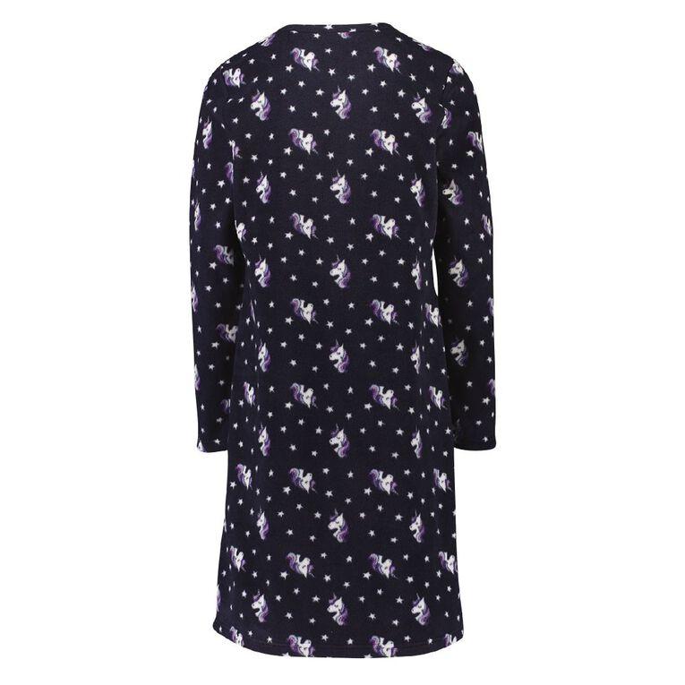 H&H Girls' Fleece Nightie, Navy, hi-res