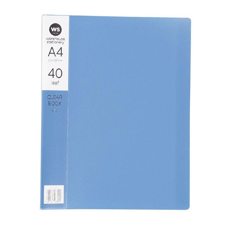 WS Clear Book 40 Leaf Blue A4, , hi-res