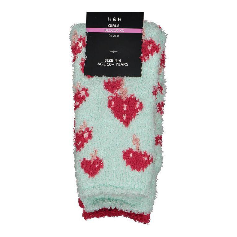 H&H Girls' Cozy Bedsocks, Pink Dark, hi-res