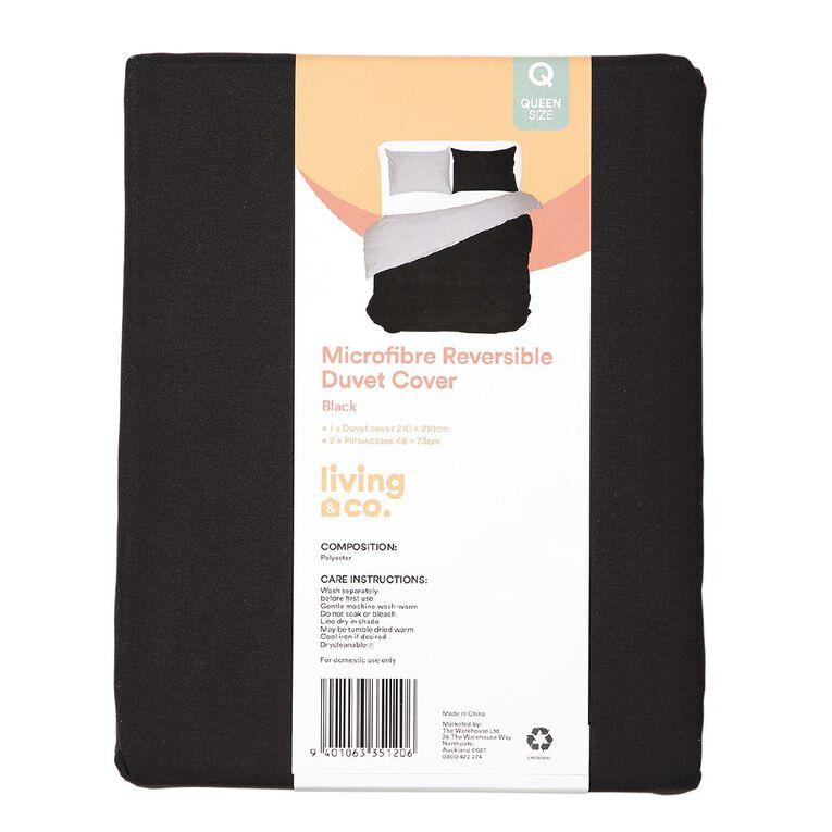 Living & Co Duvet Cover Set Microfibre Reversible Black/Grey Queen, Black/Grey, hi-res