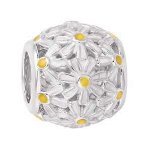 Ane Si Dora Sterling Silver Daisy Patterned Ball Charm