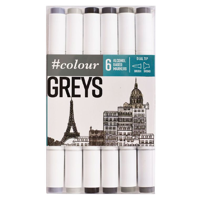 #colour Dual Ended Art Markers Grey 6 Pack, , hi-res