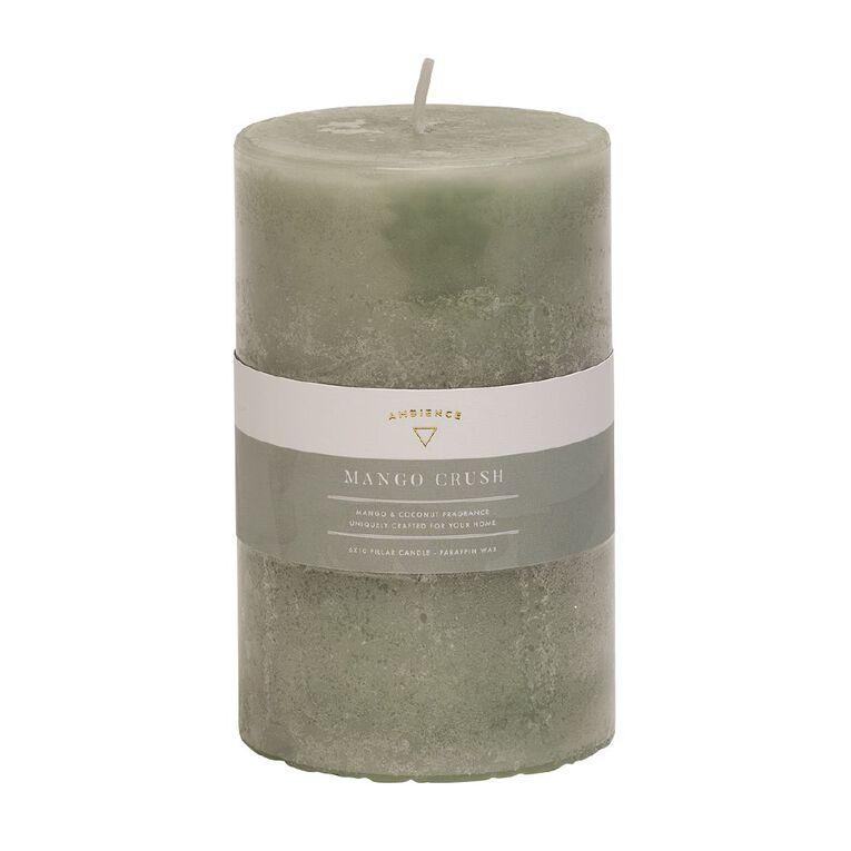 Living & Co Ambience Pillar Candle Mango Crush Green 6cm x 10cm, Green, hi-res