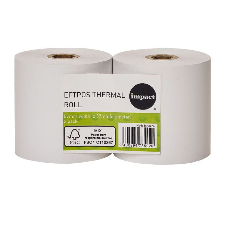 WS Eftpos Roll 57 x 57mm Twin Pack FSC Paper 65gsm, , hi-res