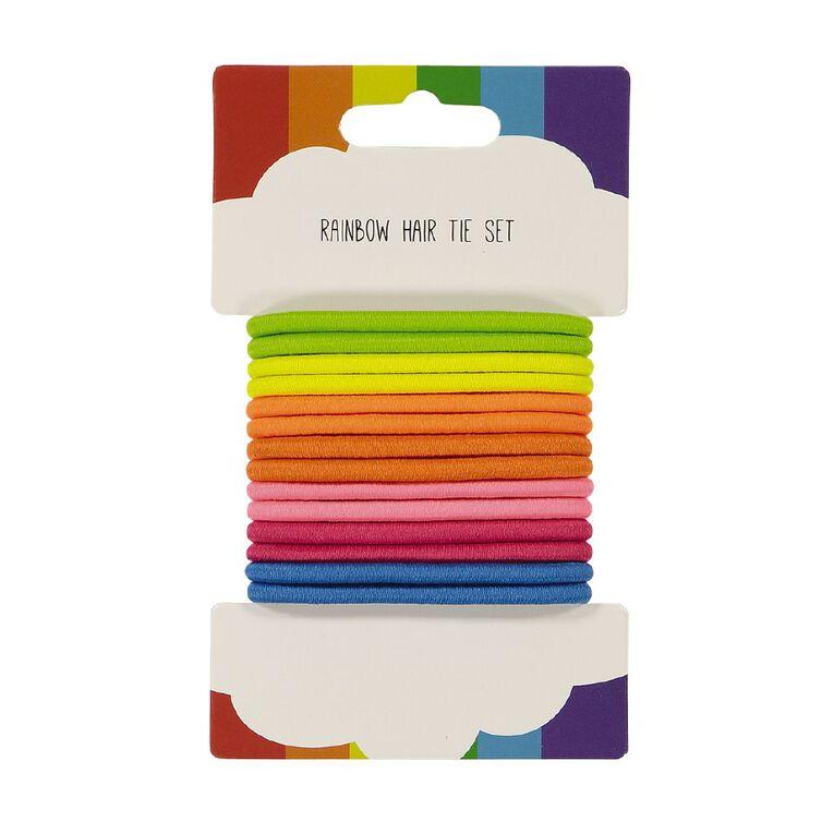 Rainbow Hair Tie Set 14 Pack, , hi-res