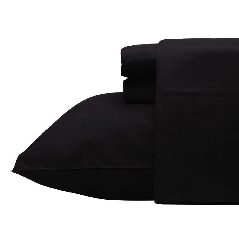 Living & Co Sheet Set Microfibre Black Queen, Black, hi-res