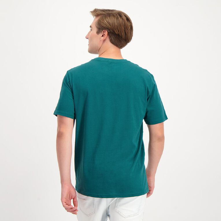 H&H Men's Crew Neck Short Sleeve Plain Tee, Green Dark, hi-res image number null