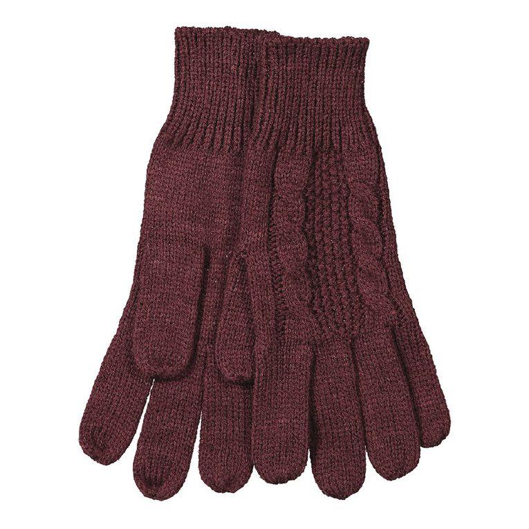 H&H Women's Cable Knit Gloves, Burgundy, hi-res