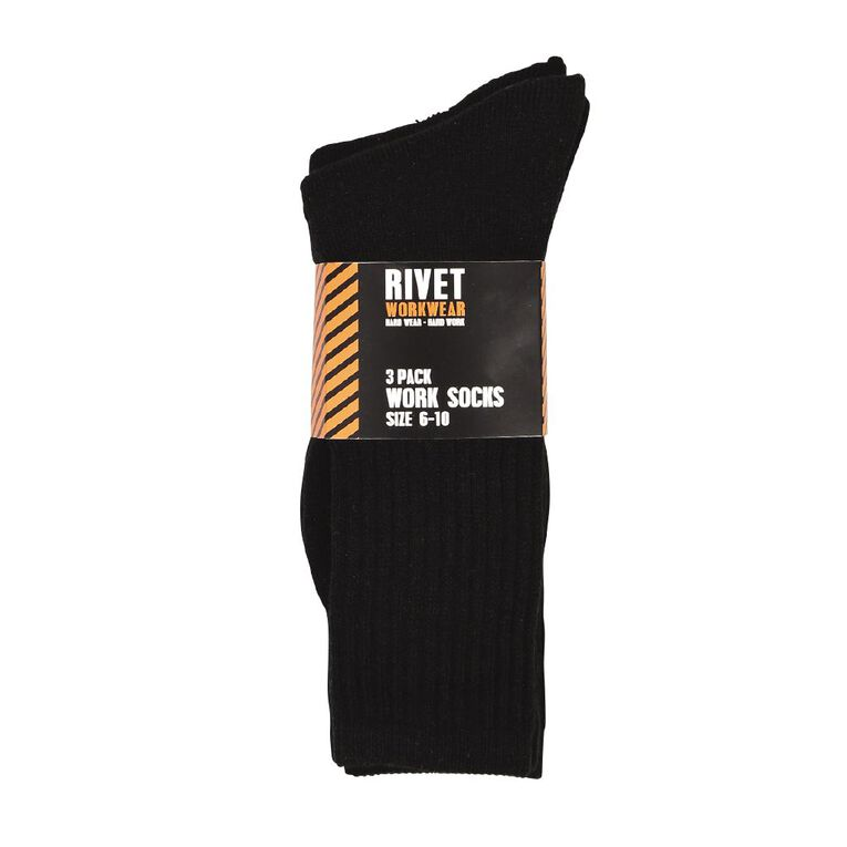 Rivet Men's Work Socks 3 Pack, Black, hi-res