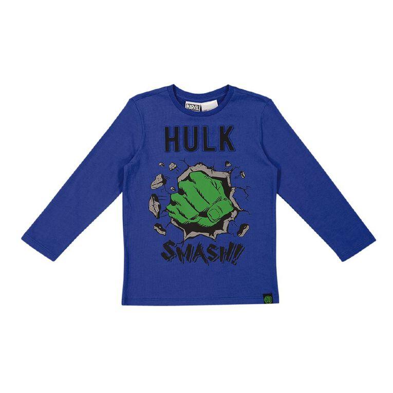 Incredible Hulk Long Sleeve Embossed Tee, Blue, hi-res