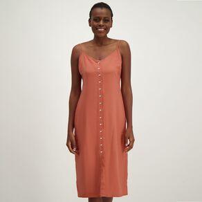 H&H Women's Linen Sleeveless Button Midi Dress