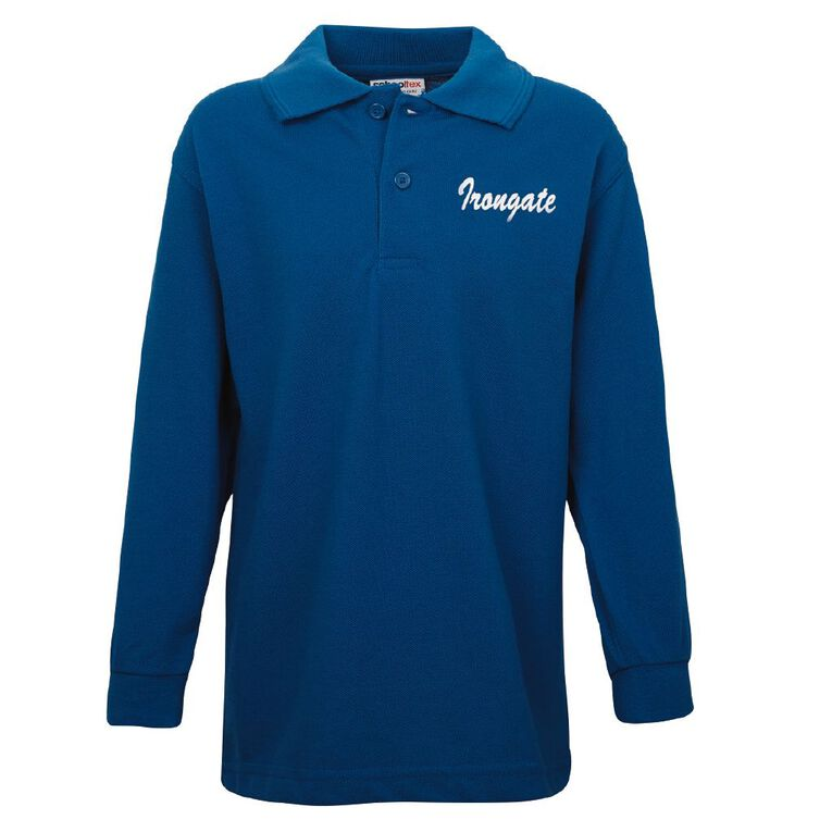 Schooltex Irongate Long Sleeve Polo with Screenprint, Royal, hi-res