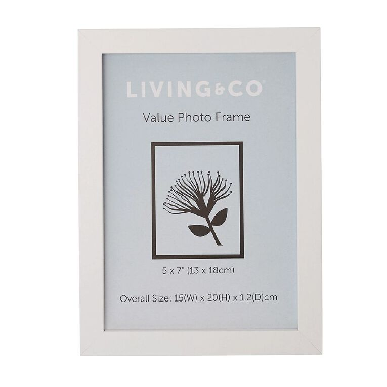 Living & Co Value Photo Frame White 5in x 7in, White, hi-res